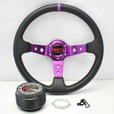 "PURPLE DEEP DISH 13.5"" STEERING WHEEL+HUB 86-93 CELICA 89-97 COROLLA 90-06 MR2"
