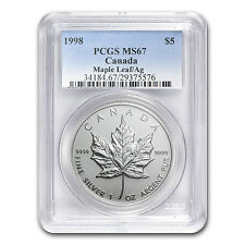 1998 1 oz Silver Canadian Maple Leaf Coin - MS-67 PCGS - SKU #81818