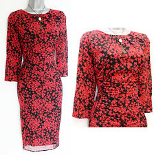 MONSOON Red Floral Stretch Silk Knee Length 3/4 Sleeve Formal Casual Dress UK 10