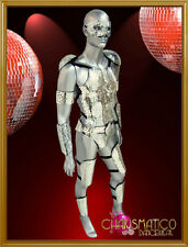 """Male warrior Futuristic styled silver mirror tiled covered """"armor"""" costume set"""