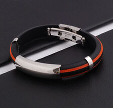 Unisex Men Women's Stainless Steel Rubber Silicone Bracelet Orange 2