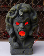 rare MEDUSA LIGHT UP PLASTER BUST HALLOWEEN PROP decoration horror monster scary
