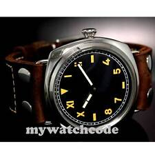 47mm parnis black california dial vintage style 6497 hand winding mens watch P5