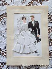 Vintage Hand Embroidered Wedding Card Printed In Spain BRIDE GROOM