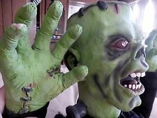 Halloween Frankenstein Monster Decoration Prop Green Screams Lights up