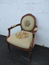 French Carved Living Room Needlepoint Tapestry Side Chair 7139