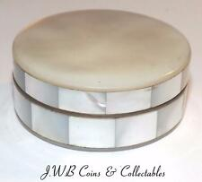 Vintage / Antique Mother Of Pearl Ladies Powder Compact - Made In France Label