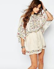 Free People Ivory Combo Sheer Batiste Embroidered Tunic Dress Size S $168