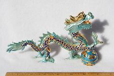 SWAROVSKI CRYSTAL BEJEWELED ENAMEL HINGED TRINKET BOX - LARGE TURQUIOSE DRAGON