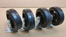 """6"""" x 2"""" Heavy Duty  Rubber on Cast Iron  Wheel Caster - Swivel 4 EA ( 450 # )"""