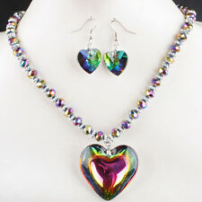 Multi-Color Crystal Glass Love & Hearts Beads Pendant Necklace Earring 1 SET