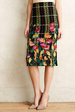 NEW ANTHROPOLOGIE $148 TROUBADOUR BLOSSOM CHECKED PENCIL SKIRT SZ S SMALL