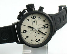 Parnis 50mm  white dial PVD Big Face black No. mens WATCH Full chronograph 742