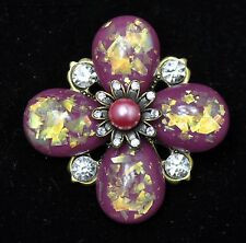 Vintage flower Style Brooches gold/purple/clea mix color high-quality Bouquet