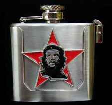 COOL CHE GUEVERRA FLASK  BELT BUCKLE STAINLESS AND PEWTER US MADE NEW!