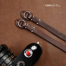 Dark Brown Leather Camera Strap with ring connection by Cam-in (white stitching)
