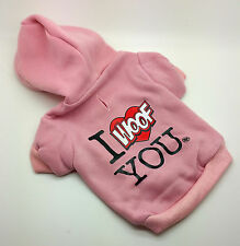 SMALL 22CM PINK I WOOF YOU DOG JUMPER TOP CHIHUAHUA YORKIE PUPPY YORKIE
