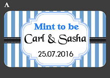 65 PERSONALISED MINI WEDDING STICKERS MINT TO BE, 8 COLOURS,CHOOSE YOUR OWN TEXT