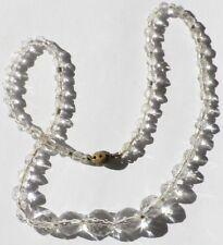 collier bijou perles à facette verre blanc taillé attache déco métal * 5248