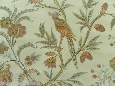 Lee Jofa Curtain Fabric SEAFIELD 4.75m Pink/Aqua Birds/Floral Design - Linen Mix