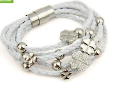 LOVELY LEATHER WRAP WOVEN CRYSTAL CLOVER CHARM 18K GP WHITE FOLLI IRENE BRACELET