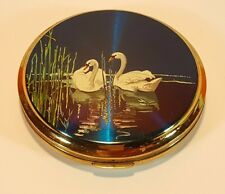 VINTAGE STRATTON POWDER COMPACT - BLUE ENAMELLED SWANS