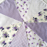 Vintage Handmade Fabric Bunting 18 FT LILAC FLORAL Tea Party. Wedding EASTER....
