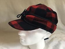 "POLO RALPH LAUREN ""ALBANS"" RED & BLACK BUFFALO PLAID WOODSMAN HAT SZ L/XL"