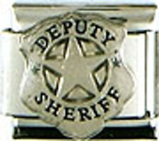 1 Deputy Sheriff Badge 9MM Stainless Steel Italian Charm Brand New!