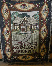There's No Place Like Home MARY Engelbreit TAPESTRY Throw BLANKET Fringe USED