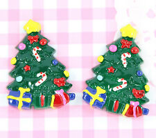 5 x Cute CHRISTMAS TREE & Gifts Flatback Cabochon Embellishment Kawaii Craft