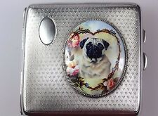 ANTIQUE ENGLISH SILVER HALLMARKED CIGARETTE CASE SET WITH ENAMEL HEART PUG DOG