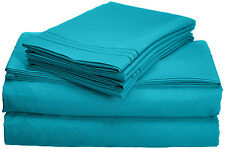 Cute Queen Bed Sheets Set 4 Pc Turquoise Egyptian Cotton 1500 Thread Count Deep