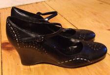 J Jill 8 Wedge High Heels Ankle Strap Career Black Leather Silver Design Leaf