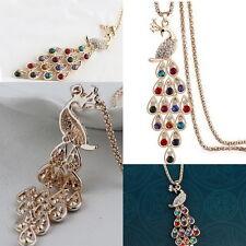 Ultimo Elegante Mijo Cadena Cristal Pavo Real Gema Collar Con Colgante Joyería