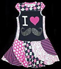 "Custom Resell Upcycle Dress ""I Heart Love Mustache  9 10 11 12 Year Old EUC tt"