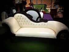 Chaise Lounge French Provincial Sofa Antique Reproduction Chocolate and Cream