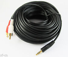 1x 60Ft 20M Aux 3.5mm Gold Male Plug to 2 RCA Gold Male Stereo Audio Cable Cord