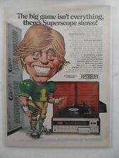 1974 Print Ad Marantz Superscope Stereo Compact Music System ~ Football Cartoon