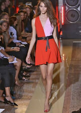 FAUSTO PUGLISI $2,450 deep v-neck red and pink colorblock mini dress 42-IT/8 NEW