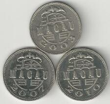 3 DIFFERENT 1 PATACA COINS from MACAU (2003, 2007 & 2010)
