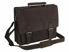 Visconti 16055 Distressed Brown Leather Briefcase Attache Case Messenger Bag