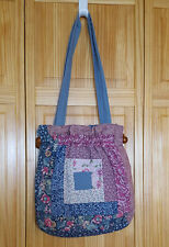 Vintage Quilted Handbag Patchwork Hippie Festival Wood Dowel Velcro Close Lined