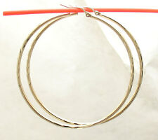 """2 3/8"""" 2 mm X 60mm Large Diamond Cut Round Hoop Earrings REAL 10K Yellow Gold"""