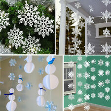 3m White Paper Material 3D Snowflake Pendant Garland Christmas Decoration 1PSC F