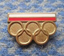NOC POLAND OLYMPIC MOSCOW LAKE PLACID 1980 ENAMEL PIN BADGE