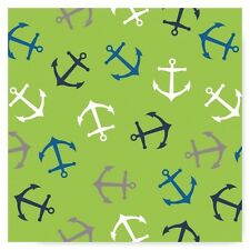 Anchor on Lime Green Cotton Flannel Fabric  Nautical Camelot By the Yard