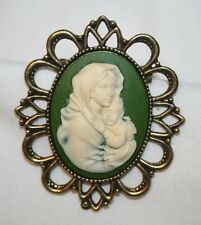 Large Green & Cream Madonna Child Cameo Religious Brooch