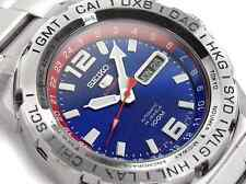 NEW MEN'S BLUE DIAL SEIKO 5 SPORTS 24 JEWEL AUTOMATIC GMT ANALOG WATCH SRP681K1