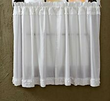 """Shabby French Country Chic WHITE RUFFLED TIERS Sheer Ruffle Curtains 36"""""""
